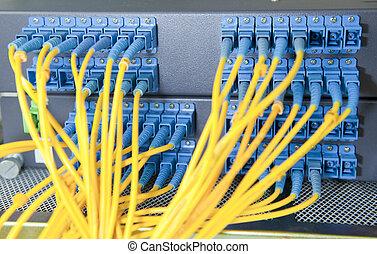 打撃, ネットワーク, 技術, ケーブル, サーバー, データセンタ