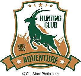 打猎, 徽章, 为, 运动, 俱乐部, 设计, 带, goat