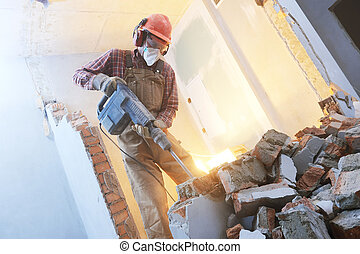 打破, 內部, wall., 工人, 由于, 爆破, 錘子