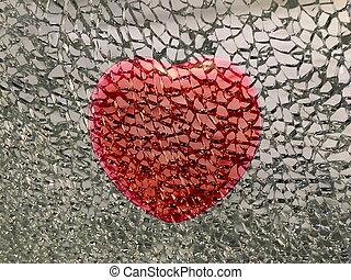 打破, 紅的背景, 心