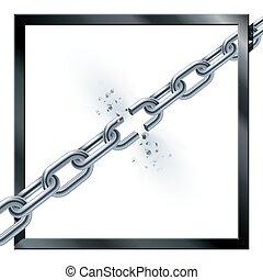 打破, 金属, chain.