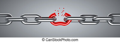 打破, 鋼, 紅色, 鏈節, 唯一