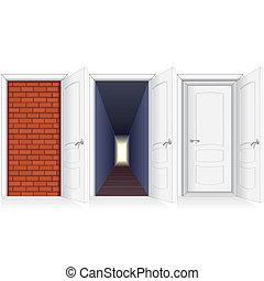 打開門, 到, brickwall, 走廊, 以及, 第二, 門
