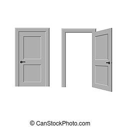 打開, 以及, 閉合的門