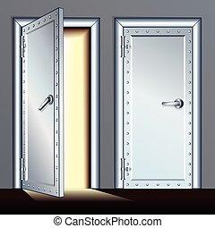 打開, 以及, 關閉, 拱頂, door., 矢量, 插圖