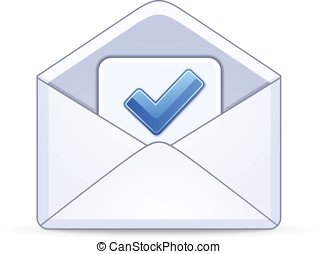 打開, 信封, 由于, a, 藍色, 复選標記