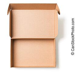 打開, 厚紙箱, 頂視圖, 被隔离