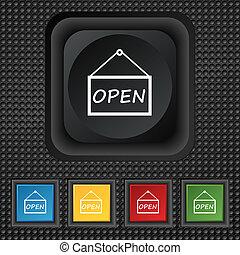 打開, 圖象, 徵候。, 符號, 結情, 顏色, 按鈕, 上, 黑色, texture.
