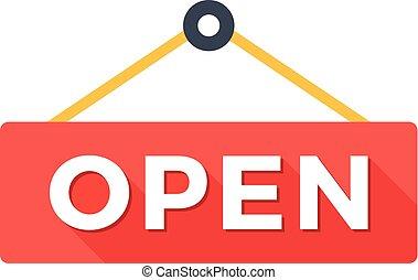 打開, 徵候。, 時髦, 長, 陰影, 套間, 設計, concept., 保險費, quality., 打開門, 徵候。, 現代, 矢量, 插圖