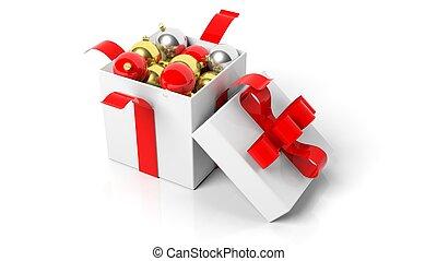 打開, 禮物盒, 由于, 紅的緞帶, 充分, ......的, 聖誕節, 球, 被隔离, 在懷特上