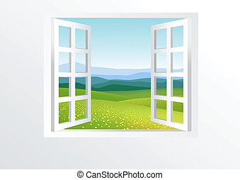 打開 窗口, 以及, 自然