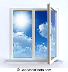 打開 窗口, 針對, a, 白色的牆, 以及, the, 混濁的天空, 以及, 太陽