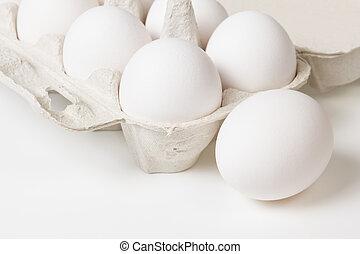 打開, 蛋, 容器, 細節, 相片