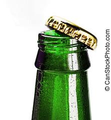 打開, a, 啤酒的瓶子, 以及, 泡沫