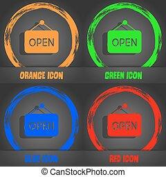 打開, icon., 流行, 現代, style., 在, the, 橙, 綠色, 藍色, 紅色, design., 矢量