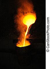扔, 杓子, 铸造厂, -, 金属, 到出, 熔铸