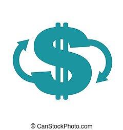 払い戻し, ドル。, リターン, ビジネス, シンボル, お金。, 現金, イラスト, 背中, ベクトル, icon., 印