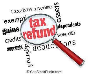 払い戻し, 税, -, 探索, ガラス, 拡大する