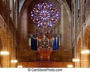 托馬斯, 完成, 風格, 法語, 高, 位於, 曼哈頓, 哥特式, 設計, 聖徒, 教堂, 紐約, 自治區, 1914...