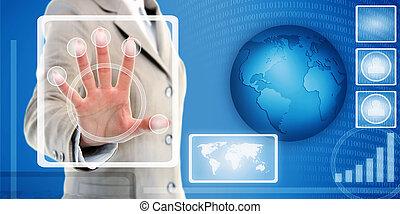 扫描仪, 感人, 指纹, 接口, 手