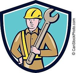 扳手, 建设工人, 卡通漫画, 盾