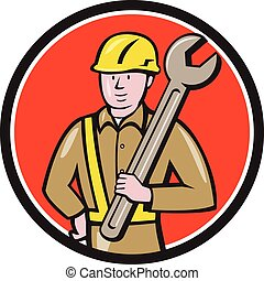 扳手, 建设, 环绕, 卡通漫画, 工人