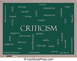 批判, 黒板, 概念, 単語, 雲