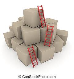 批, ......的, 箱子, -, 攀登, 向上, 由于, 有光澤, 紅色, 梯子