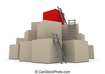 批, ......的, 箱子, -, 攀登, 向上, 由于, 灰色, 梯子