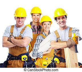 承包商, 工人, 人们。