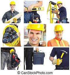 承包商, 工人, 人們。