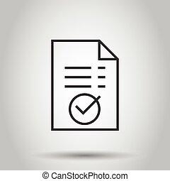 承認しなさい, 隔離された, 文書, 印, イラストビジネス, style., バックグラウンド。, concept...