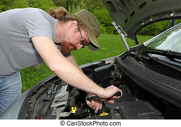 技工, 修理, a, 汽車, 在道路上