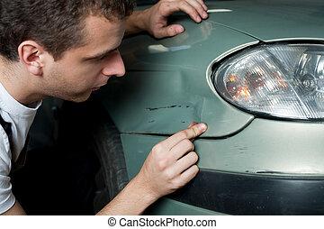 技工, 汽車, 特寫鏡頭, 被損坏, 檢查