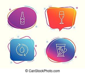 技能, アイコン, 印。, ビール, wineglass, ブルゴーニュ, アクア色, ビール, ベクトル, ガラス。, 水, びん, リサイクルしなさい, 葉, 結め換え品, ミント, set.