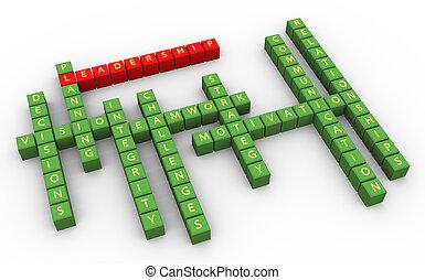技能, クロスワードパズル, リーダーシップ, 3d