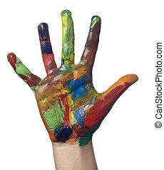 技能, 手, 芸術, 子供, ペイントされた, 色