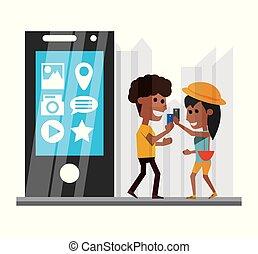 技術的である, smartphone, apps, 手, 人々