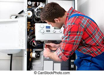 技術者, サービスを提供すること, 加熱, ボイラー