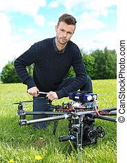 技術者, 固定するプロペラー, の, uav, octocopter