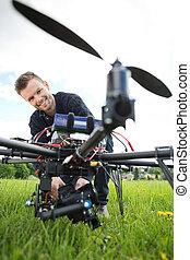 技術者, 集まっていること, カメラ, 上に, uav, 無人機