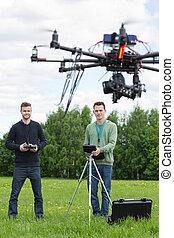 技術者, 飛行, uav, ヘリコプター, パークに