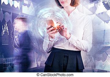 技術, そして, ネットワーク, 概念