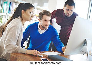 技術, グループ, 働いている人達