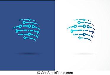 技術, シンボル, -, 技術, ロゴ, アイコン