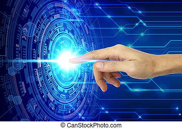 技術, スクリーン, 事実上, 手, 感動的である, 技術, concept.