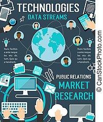 技術, データ, 流れ, ベクトル, デジタル, ポスター