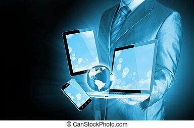 技術, ビジネスマン, 手