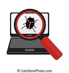技術, ラップトップ, loupe, ウイルス, かぶと虫