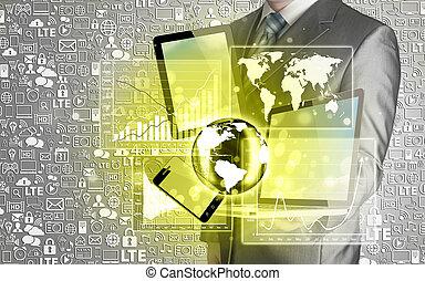 技術, 中に, ∥, 手, の, ビジネスマン